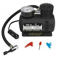Компрессор для подкачки колес автомобильный Air Compressor 250 psi с манометром + набор иголок, насос 12V, фото 4