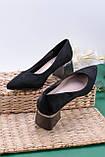 Жіночі чорні туфлі на підборах 5,5 см еко - замш, фото 2