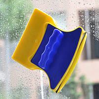 Магнітна щітка для миття вікон з двох сторін Glass Wiper Window Wizard, щітка для вікон, миття вікон, фото 2