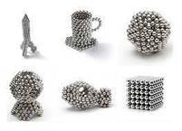 Неокуб Магнітний конструктор Neocube (срібло) 5 мм, інтерактивна іграшка, нео куб, магнітні кульки, неодим, фото 2