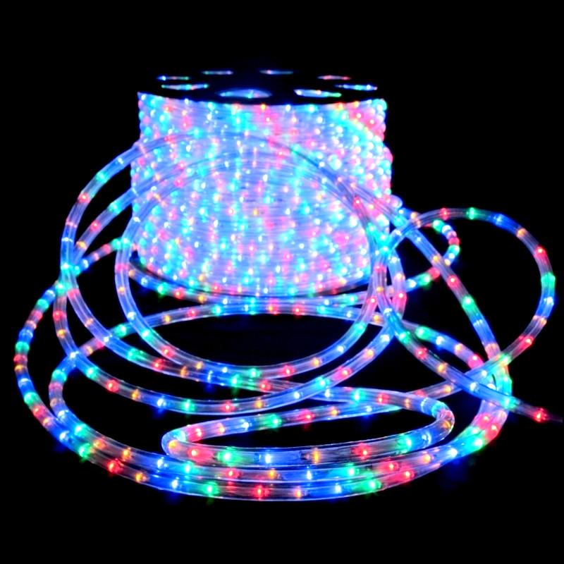 Вулична гірлянда дюралайт 20м. RGB трижильний, круглий (Мультиколір), Гірлянда для прикраси будинку + адаптер