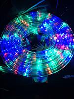 Вулична гірлянда дюралайт 20м. RGB трижильний, круглий (Мультиколір), Гірлянда для прикраси будинку + адаптер, фото 2