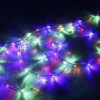 Вулична гірлянда дюралайт 20м. RGB трижильний, круглий (Мультиколір), Гірлянда для прикраси будинку + адаптер, фото 3