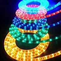 Вулична гірлянда дюралайт 20м. RGB трижильний, круглий (Мультиколір), Гірлянда для прикраси будинку + адаптер, фото 4