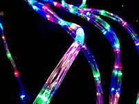 Вулична гірлянда дюралайт 20м. RGB трижильний, круглий (Мультиколір), Гірлянда для прикраси будинку + адаптер, фото 5