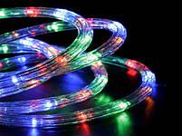 Вулична гірлянда дюралайт 20м. RGB трижильний, круглий (Мультиколір), Гірлянда для прикраси будинку + адаптер, фото 6