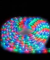 Вулична гірлянда дюралайт 20м. RGB трижильний, круглий (Мультиколір), Гірлянда для прикраси будинку + адаптер, фото 8