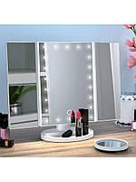 Настільне дзеркало для макіяжу з підсвічуванням розкладне , сенсорний екран, 22 LED лампи, Лід дзеркало для, фото 3