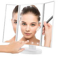 Настільне дзеркало для макіяжу з підсвічуванням розкладне , сенсорний екран, 22 LED лампи, Лід дзеркало для, фото 4