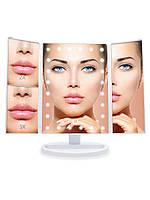 Настільне дзеркало для макіяжу з підсвічуванням розкладне , сенсорний екран, 22 LED лампи, Лід дзеркало для, фото 7