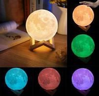 """3D Светильник """"Луна"""" 3D MOON LAMP 15см 5 Режимов , ночник в виде луны, фото 3"""