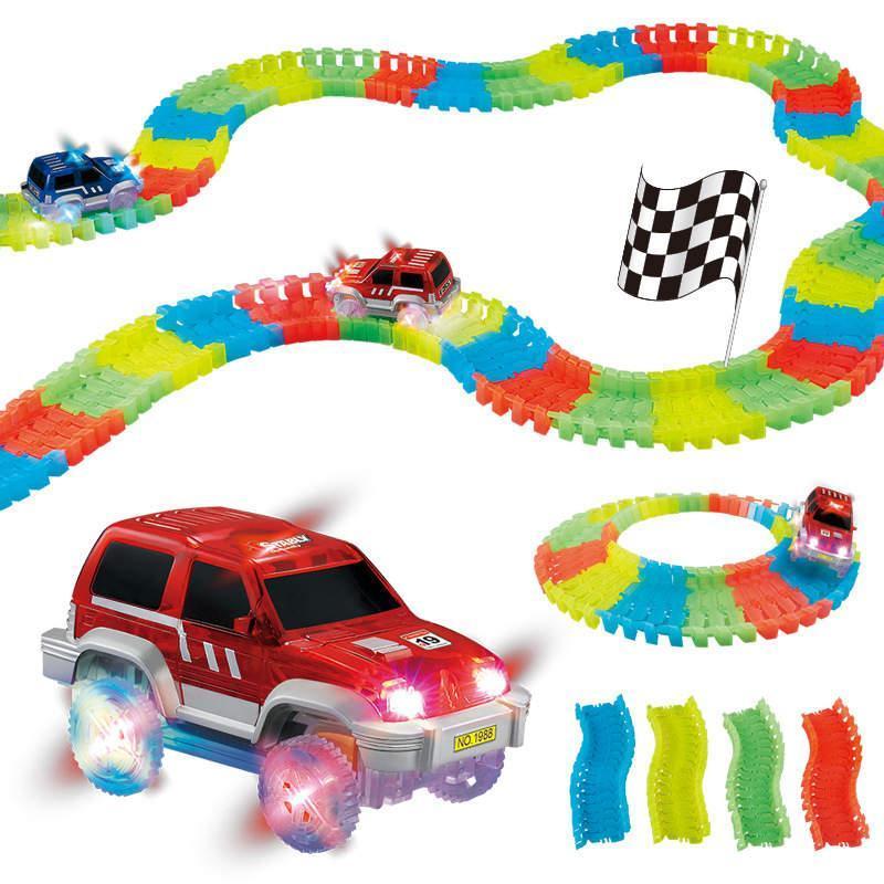 Светящийся конструктор Magic Tracks 220 деталей, гибкая гоночная трасса конструктор