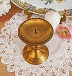 Старый латунный подсвечник под пеньковую свечу, латунь, Германия, 12 см, фото 5