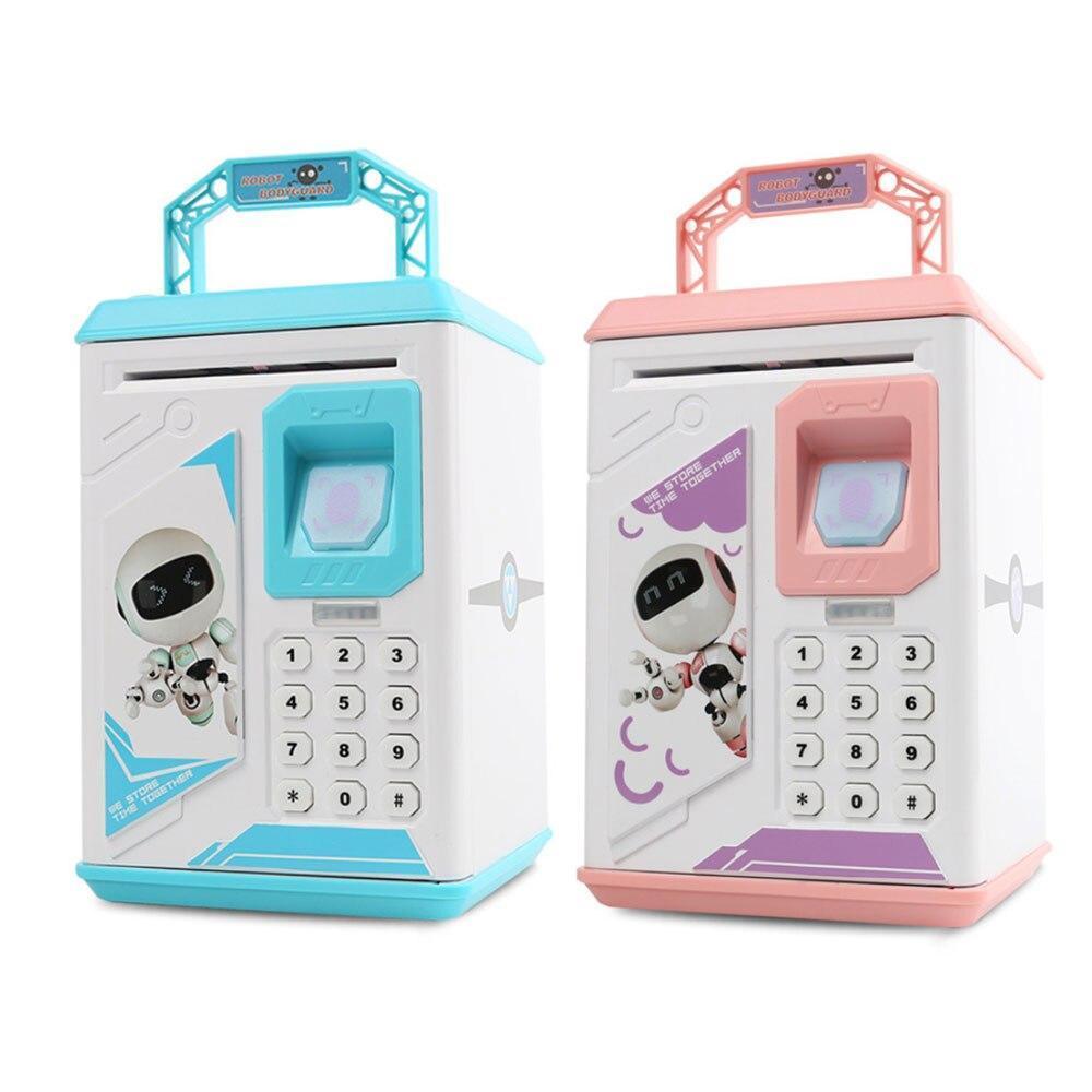 Електронна Скарбничка сейф з відбитком пальця і кодовим замком «Електронний сейф» + купюроприймач   Pink