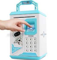 Електронна Скарбничка сейф з відбитком пальця і кодовим замком «Електронний сейф» + купюроприймач   Pink, фото 3