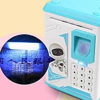 Електронна Скарбничка сейф з відбитком пальця і кодовим замком «Електронний сейф» + купюроприймач   Pink, фото 6