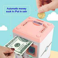 Електронна Скарбничка сейф з відбитком пальця і кодовим замком «Електронний сейф» + купюроприймач   Pink, фото 8
