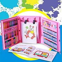 Детский набор для рисования 208 предметов в удобном кейсе с ручкой + Мольберт, фото 8