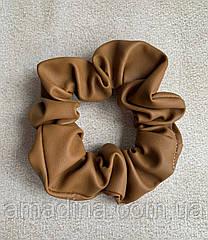 Жіноча гумка на волосся шкіряна коричнева, об'ємна резинка іриска, женская резинка коричневая кожа
