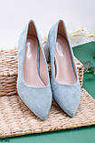 Стильные туфли женские бирюзовые- голубые на каблуке 5,5 см эк замш, фото 2