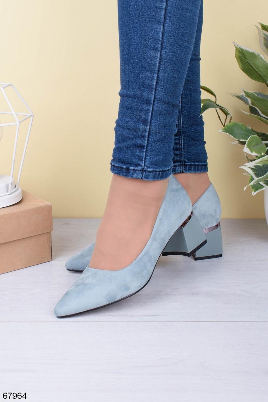 Стильные туфли женские бирюзовые- голубые на каблуке 5,5 см эк замш
