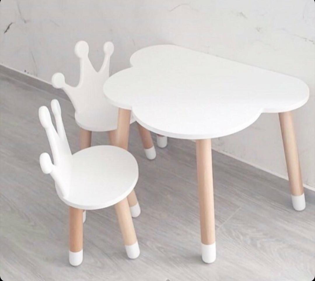 "Детский стол и 2 стула (2 стула ""корона"" и стол полуоблако)"