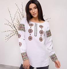 """Блуза вышиванка женская """"Роксолана"""" из белого льна с орнаментом"""