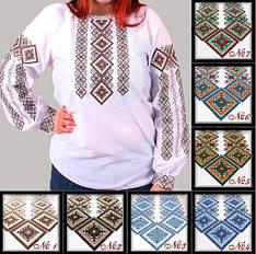"""Вышитая женская блуза """"Александра №1"""" ткань поплин белый с орнаментом"""