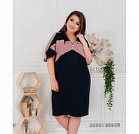 Женское платье большого размера, Оригинальное платье батал в спортивном стиле. Платье с капюшоном, через