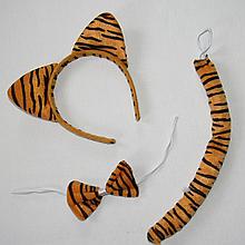Набор тигра (обруч,хвост,бант)для карнавала. Детский карнавальный набор тигра.Обруч ушки тогра 20040