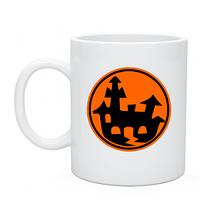 Чашка кружка белого цвета с нанесением на Хеллоуин  Замок