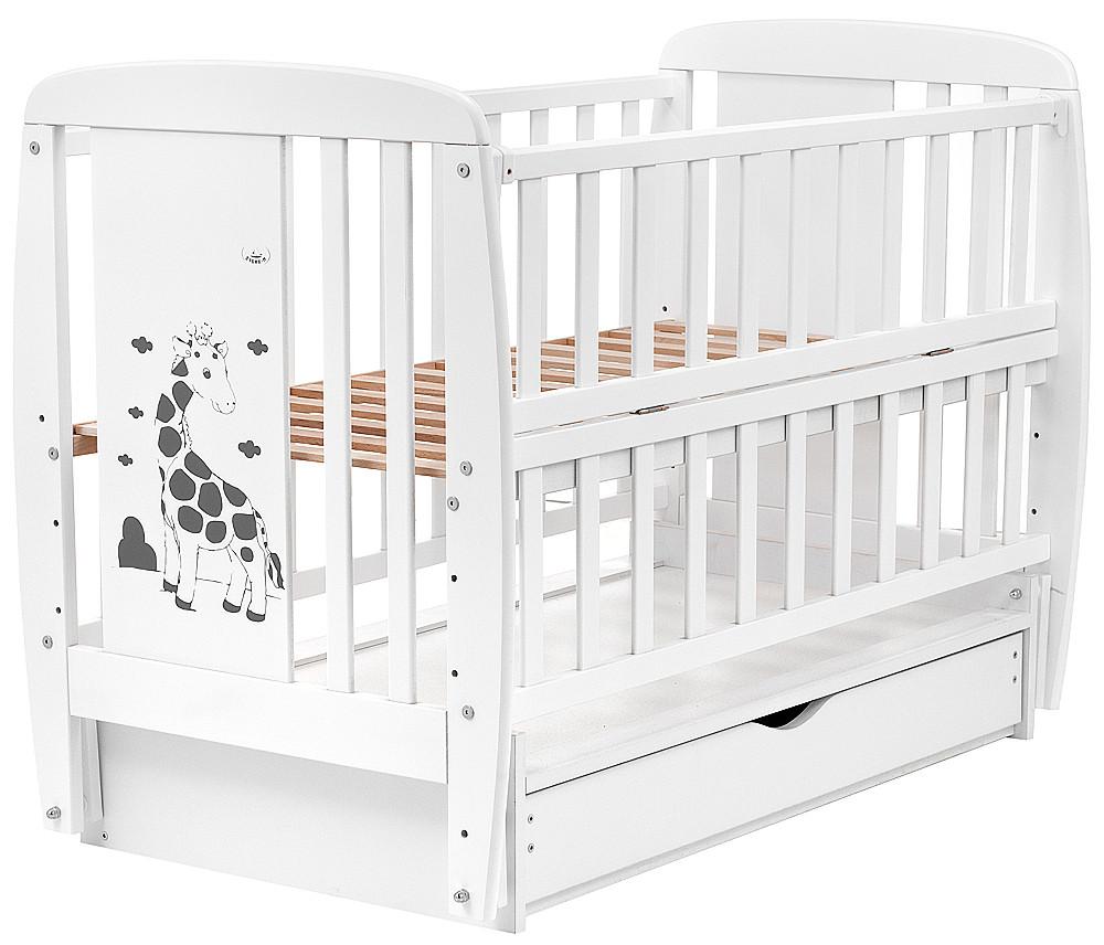 Ліжко Babyroom Жирафик, маятник, ящик, відкидний бік, бук білий, 625289