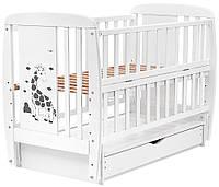 Ліжко Babyroom Жирафик, маятник, ящик, відкидний бік, бук білий, 625289, фото 1