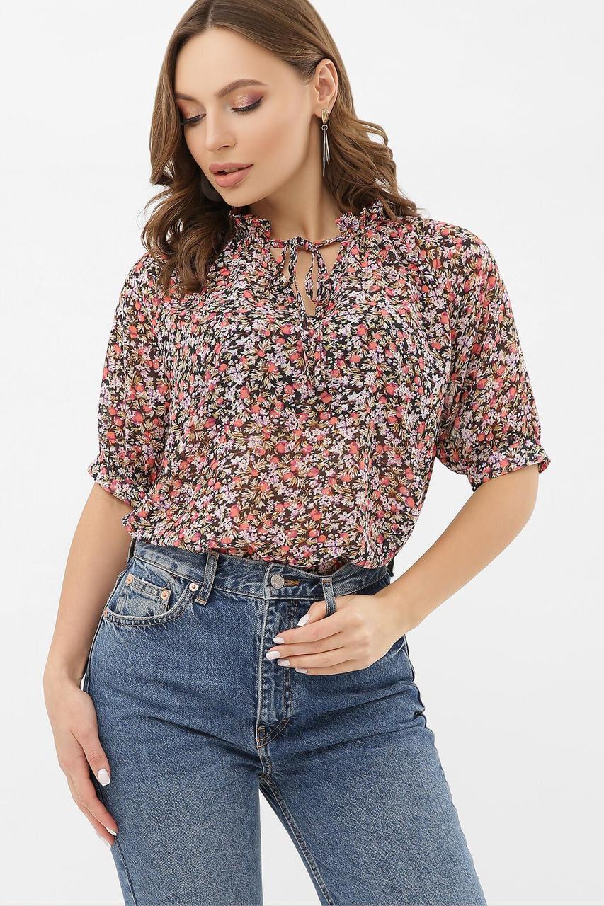 Блуза из шифона в цветочный принт  Ольви к/р