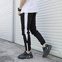 Спортивные штаны мужские дайвинг Rocky с лампасами черно-белые | Брюки весенние осенние летние ТОП качества