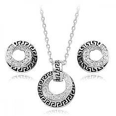 Стильний набір жіночої біжутерії з орнаментом кольє і сережки