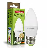 """Светодиодная EUROLAMP LED Лампа """"Свеча"""" ЕКО 6W E27 3000K"""