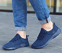 Летние мужские кроссовки сетка лето повседневные модные удобные молодежные синие 44 размер Restime 21811 2021