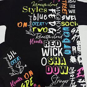 Костюм летний подростковый модный красивый нарядный оригинальный чёрного цвета с яркими надписями для девочки 158