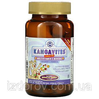 Solgar, Kangavites, Комплекс вітамінів для дітей, зі смаком ягід, 120 жувальних таблеток