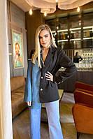 Жіночий стильний подовжений піджак двоколірний, фото 1