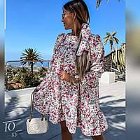 Воздушное  женское платье в цветочек, фото 1
