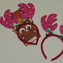 Карнавальный обруч на голову рога оленя розовые 20082