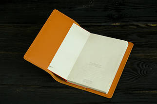 """Обкладинка для блокнот А5, """"Модель № 14"""" шкіра Grand, колір Бурштин, фото 2"""