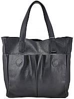 Женская кожаная сумка с карманами темно-синяя