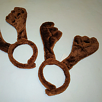 Новогодний карнавальный обруч рога оленя коричневые мягкие 36679