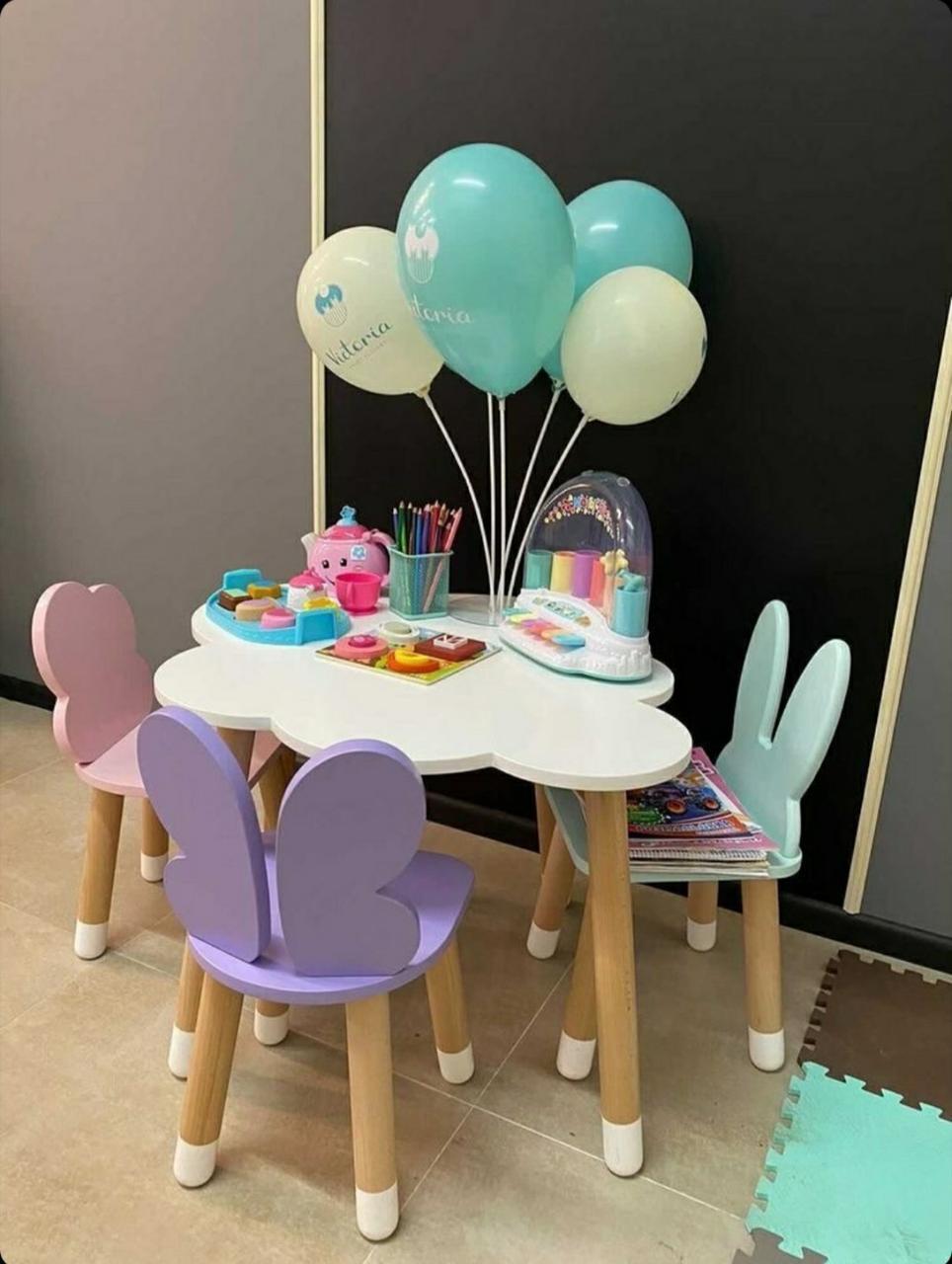 """Дитячий стіл хмара і 3 стільці (стільці: """"хмарка"""",""""зайчик""""нова модель """"метелик"""")"""