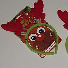 Карнавальный обруч на голову рога оленя красные 20080