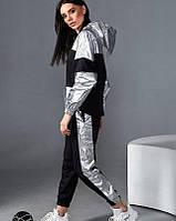 Оригинальный костюм из двунитки с серебристыми вставками, фото 1