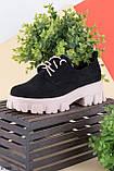 Туфли- броги женские черные с бежевым на платформе 3 см- 6 см эко замша, фото 2